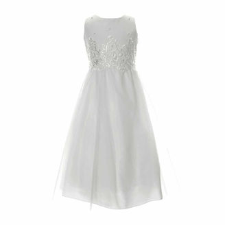 KEEPSAKE Keepsake Lace Bodice with Pearl Detail Satin Communion Dress - Girls 6X-14 and Plus $100 thestylecure.com