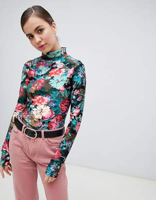 Monki roll neck floral print jersey top in blue