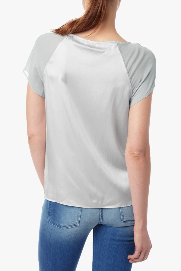7 For All Mankind Fabric Blocked Tee In Pale Silver