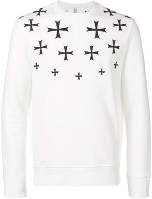 Neil Barrett embroidered cross sweatshirt