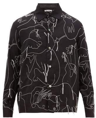 Our Legacy Heusen Alley Embroidered Animal Wool Twill Shirt - Mens - Black