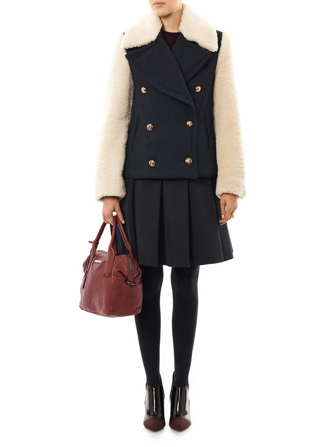 McQ by Alexander McQueen Shearling sleeve pea coat