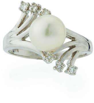 Belpearl 14k Prong-Set Diamond & Akoya Pearl Ring, Size 5.5