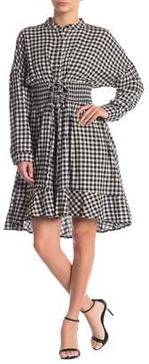 Moon River Gingham Lace-Up A-Line Shirt Dress