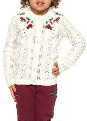 Dex Little Girl's Roses Cotton Cardigan