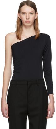 Helmut Lang Black One-Shoulder Long Sleeve T-Shirt