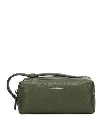 Salvatore Ferragamo Men's Firenze Leather Toiletry Bag, Green