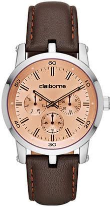 Liz Claiborne Mens Brown Strap Watch-Clm1218