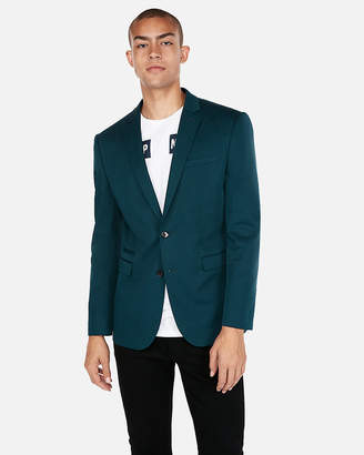 Express Slim Turquoise Cotton Sateen Stretch Suit Jacket