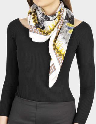Versace 90X90 Chaloumet Scarf in White Silk