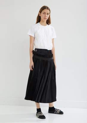 Sacai Melton Wool Pleated Wrap-Over Skirt
