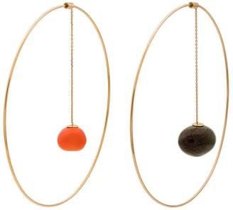Jacquemus Gold-tone L'Orange dangling pendant hoop earrings