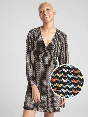 Gap Fit and Flare Print V-Neck Dress