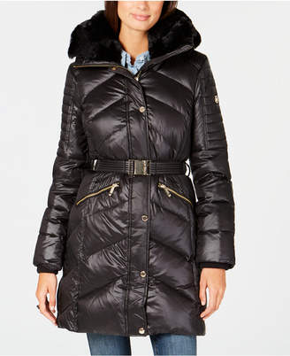 Michael Kors Belted Faux-Fur-Trim Puffer Coat