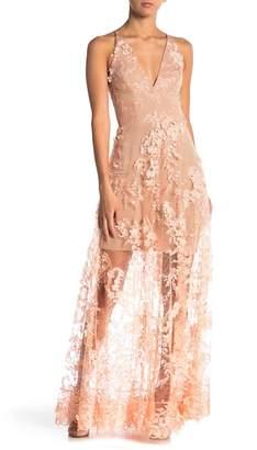 Dress the Population V-Neck Floral Applique Dress