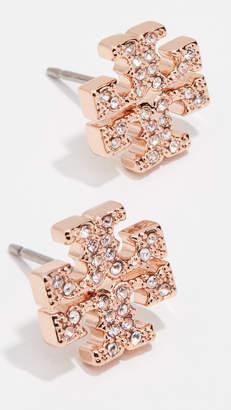 Tory Burch Crystal Logo Stud Earrings