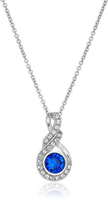 Swarovski Platinum Plated Sterling Silver Crystal Round Twist Pendant Necklace