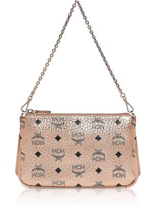 MCM Champagne Gold Visetos Medium Millie Top Zip Crossbody
