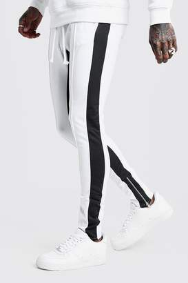 boohoo Tricot MAN Skinny Joggers With Side Panel