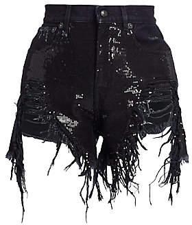 R 13 Women's Shredded Sequin Denim Shorts