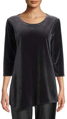 Caroline Rose Round-Neck 3/4-Sleeve Stretch-Velvet Angled Top, Plus Size