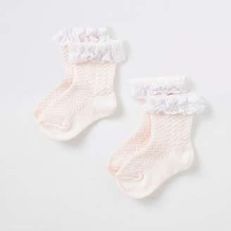 River Island Mini girls pink lace socks