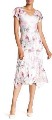 Komarov Flutter Sleeve Print Midi Dress