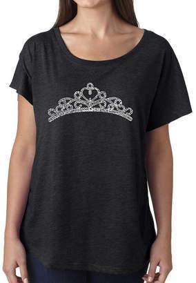 LOS ANGELES POP ART Los Angeles Pop Art Women's Loose Fit Dolman Cut Word Art Shirt - Princess Tiara