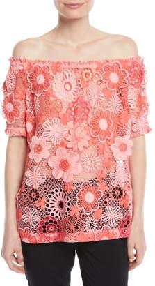 Naeem Khan Off-the-Shoulder Floral Lace-Guipure Top