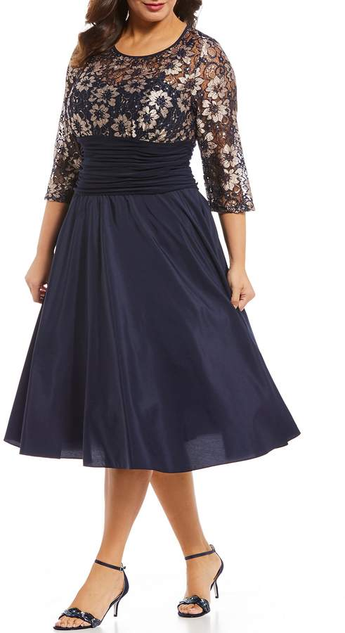 Jessica Howard Plus Size Illusion Sweetheart Neckline Ruched Waist Dress
