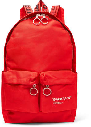 Off-White Off White Printed Canvas Backpack - Red