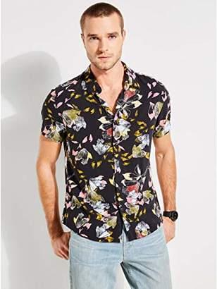 GUESS Men's Short Sleeve Leaf Print Button Down Shirt