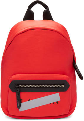 Lanvin Red Zippered Logo Backpack