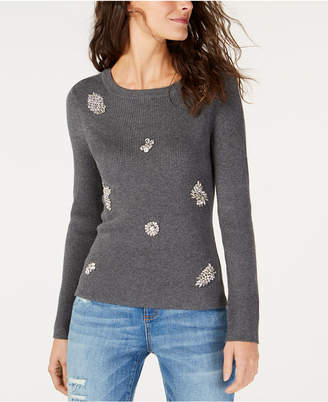 INC International Concepts I.n.c. Brooch-Embellished Ribbed Sweater