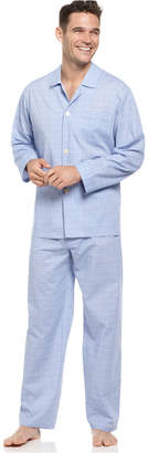 Club Room Men's Blue Glenplaid Shirt and Pants Pajama Set