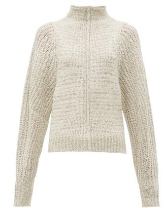 Isabel Marant Edilon High Neck Wool Blend Sweater - Womens - Light Grey