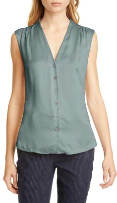 Rebecca Taylor Tailored by Button Up Sleeveless Silk Blouse