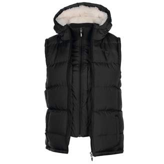 Lee Cooper Womens 2 Zip Gilet Sleeveless Jacket Hooded Insulated Faux Fur