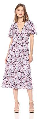 Ella Moon Women's Rafaela Short Sleeve Wrap Midi Dress with Ruffle Detail