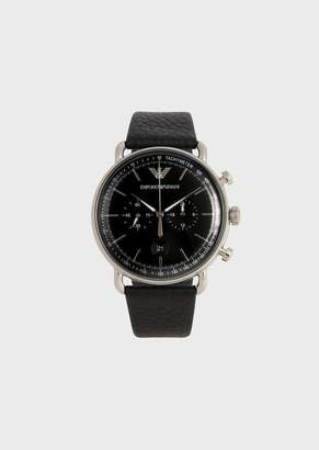 Emporio Armani Watch With Round Dial And Hammered Leather Strap