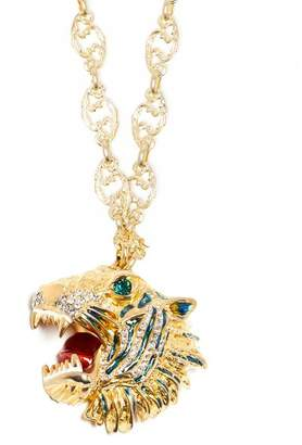 Gucci Crystal Embellished Tiger Head Necklace - Womens - Crystal