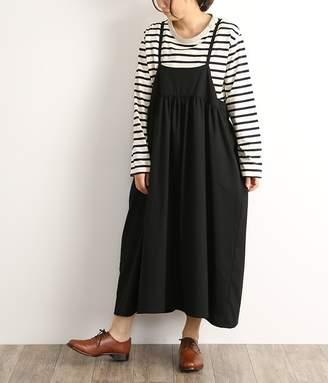 エステルレーヨンサージロングジャンパースカート(A・ブラック)【入荷待ち】