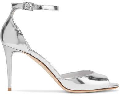 Jimmy Choo - Annie 85 Metallic Leather Sandals - Silver