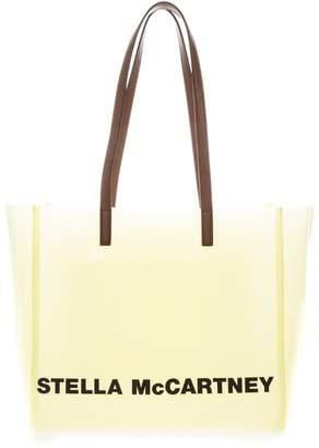 Stella McCartney Transparent Pastel Yellow Tote Bag With Logo Print