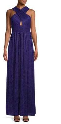 Cross-Front Pleated Gown