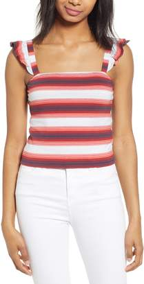 BP Stripe Ruffle Strap Crop Tank