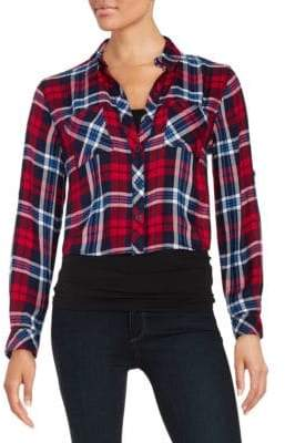 Beach Lunch Lounge Cropped Plaid Blouse