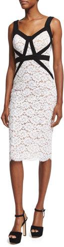 MICHAEL Michael KorsMichael Kors Gardenia Lace Sheath Dress W/Contrast Trim, Optic White
