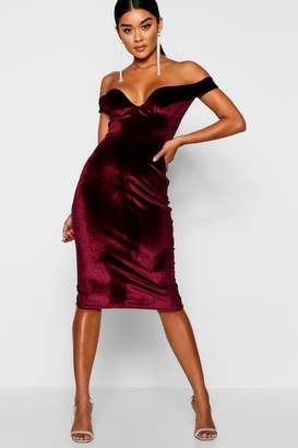 boohoo Velvet Off Shoulder Bodycon Dress