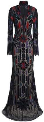 Roberto Cavalli Velvet-Trimmed Beaded Lace Gown